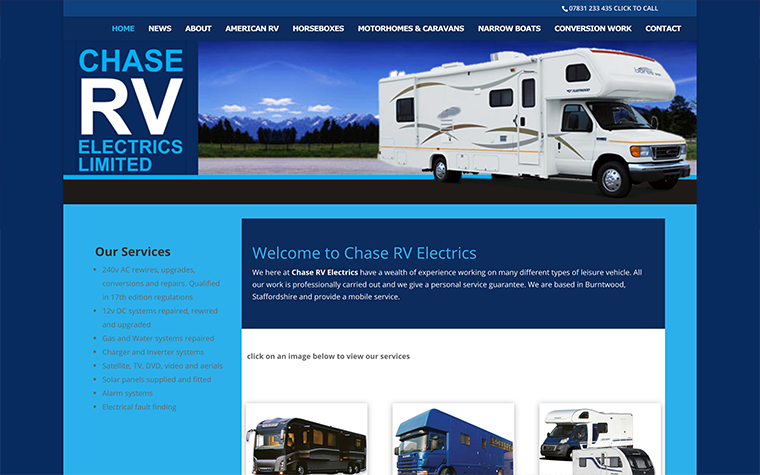 Chase RV Electrics WordPress Website Conversion