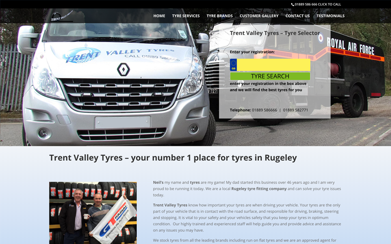 Trent Valley Tyres (Rugeley Tyres) WordPress Conversion